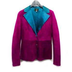 Fendi leather and satin blazer jacket sz 6